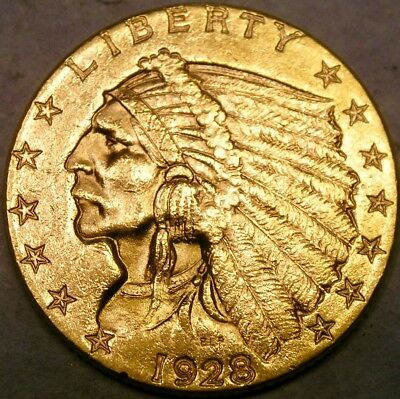 1928 Indian Head Gold Quarter Eagle $2.5 Appealing High Quality W/sharp Feathers