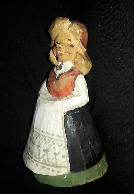 Vintage ▪HENNING▪ Norway ▪Hand Carved Painted Wooden GIRL Figurine