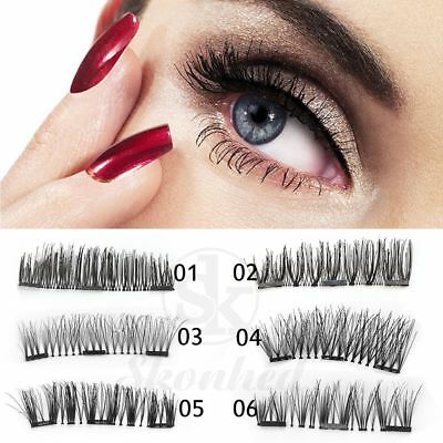SKONHED 4 Pcs Lashes/Set 3D Triple Magnetic False Eyelashes Handmade Soft Lashes