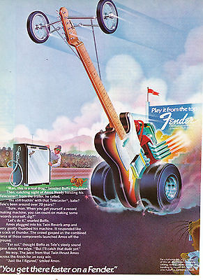 """Vintage 1970's Fender Guitars """"You'll Get There Faster"""" Print Advertisement"""