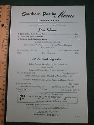 SP Southern Pacific Dining Car Coffee Shop Menu  14