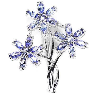 Natural Aaa Blue Tanzanite Marquise & Round Sterling 925 Silver Flower Brooch