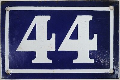 Old blue French house number 44 door gate plate plaque enamel steel sign c1950