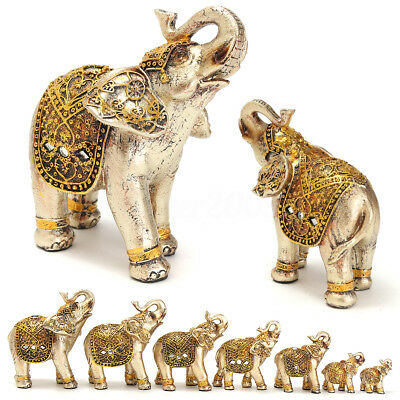 Set of 7 Gold Lucky Elephants Statues (2.5~6.5'') Feng Shui Figurine Home Decor