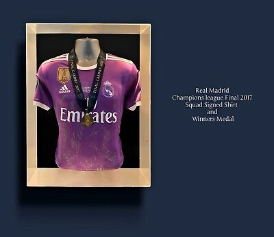 Real Madrid Team Hand Signed Champions League 2017 Final Shirt & Medal Display
