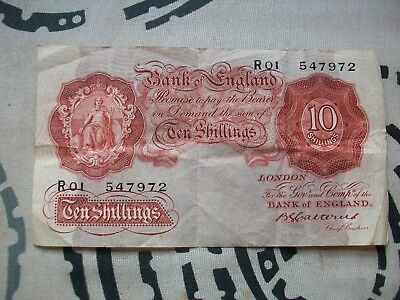 Rare 10/-, Ten Shillings Banknote: (Basil Catterns, Chief Cashier).