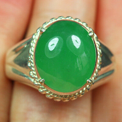 94.4CT 100% Natural Grade A Imperial Green Jadeite Ring Cab CFRB3