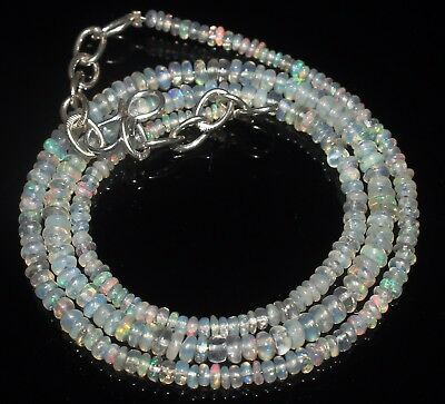 30 Ctw 2-4 Mm 17 Natural Genuine Ethiopian Welo Fire Opal Beads Necklace-R6593