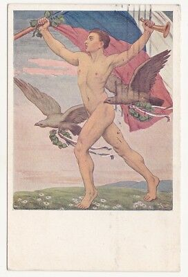 Czech SOKOL Nude male with trumpet and flag Wachsman 1926 used