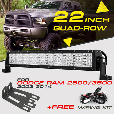 "QUAD-ROW 22"" 1440W CREE LED Work Light Bar Hidden Bracket Fog For Ram 2500/3500"