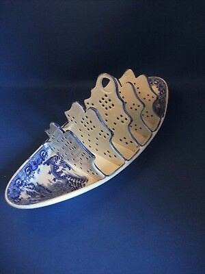 Antique Early 19Thc Spode Blue & White Toast Rack -  Flying Pennant C1810