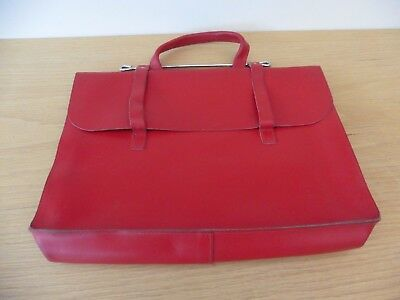 Superb full leather music /Manuscript case in stunning letterbox red in grt cond