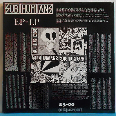SUBHUMANS - EP LP - Original UK LP - Bluurg Anarcho Punk DIY