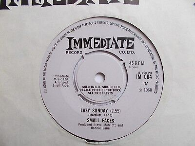 "Ex-  Uk  Immediate 45 - Small Faces - "" Lazy Sunday"" / ""rollin' Over"""