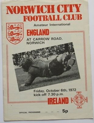 1972/73 England v Ireland Amateur International at Norwich City.