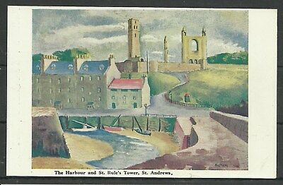 Postcard : St Andrews Fife The Harbour St Rules artist painting by Sheherd 1934