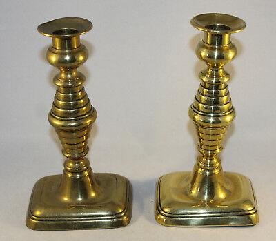 """Pair of Antique Brass Candlesticks with Twin Beehive Knop and Pushers 7.5"""" Tall"""