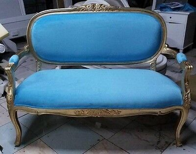Louis XVI Antique French Style Gilt Sapphire Blue Upholstered 2 Seat Sofa