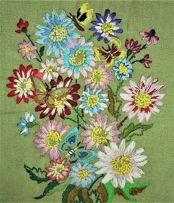 LOVELY! Vintage Wild Flower Floral Finished Completed Wall Art CREWEL Embroidery