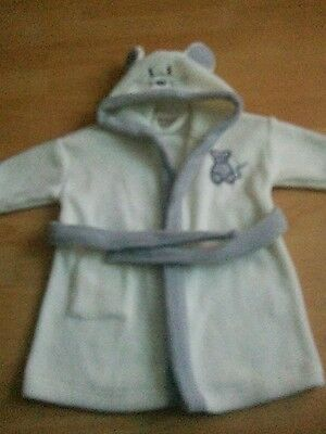 Baby/childs fleece dressing gown/ bath robe with hood age 6 - 12 months