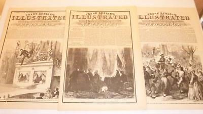 3 Frank Leslie's Illustrated Newspaper 1865 Reissue Booth Lincoln Assassination