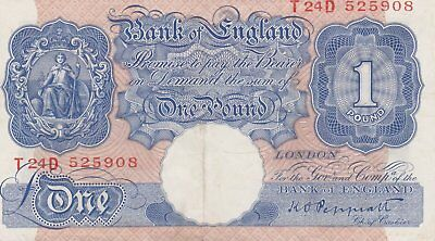 Bank Of England K.o.  Peppiatt  One Pound Blue Bank Note