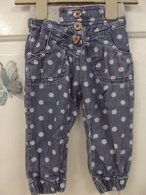 Baby Girl Blue With Dots Pattern Soft Jeans In Size 9-12 Months