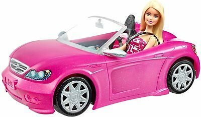 Barbie DJR55 Convertible Car and Doll Playset - Pink A