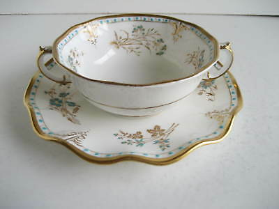 Vintage Royal Crown Derby Turquoise Gilded Soup Cup Saucer Bowl Normandie A1144