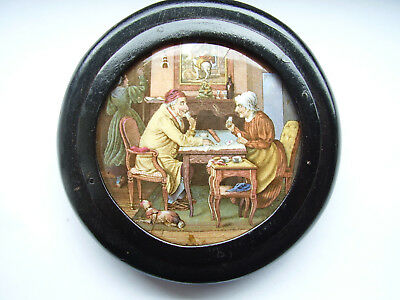 "Scarce 19 Century Prattware Pot Lid ""a Pair"" Set In Ebonised Surround"