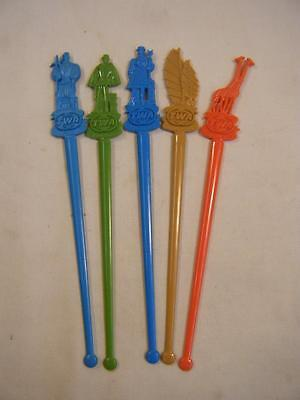 Vintage Lot of 5 TWA Twizzle Stick/Drink Stirrer Italy/Africa/France Etc 6 1/4""