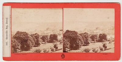 Stereoview-CHANNEL ISLANDS, Jersey and Grouville Bay by GODFRAY