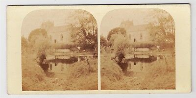 Stereoview-WARWICKSHIRE, Ashow and Church of The Assumption of Our Lady c1860s