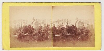 Stereoview-WARWICKSHIRE, Coventry and a view in the cemetery