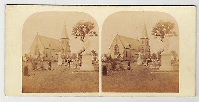 Stereoview-WARWICKSHIRE, Leamington and the cemetery chapel, c1860s