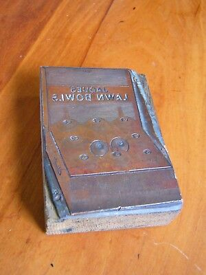 A Rare Old Copper Printing Letterpress Block On Wood Base - 'jaques Lawn Bowls'.