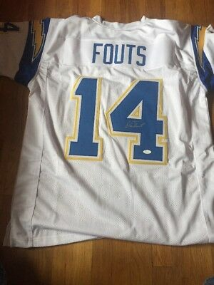 DAN FOUTS SIGNED AUTO SAN DIEGO CHARGERS White JERSEY JSA AUTOGRAPHED