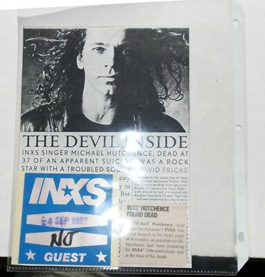 1997 INXS backstage satin guest pass & SIGNED flyer Farris & Hutchinson