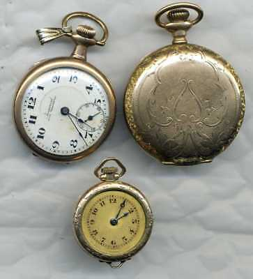 3 ladies gold-filled watch for parts repair scrap 0s Elgin A. LeCoultre Imperial