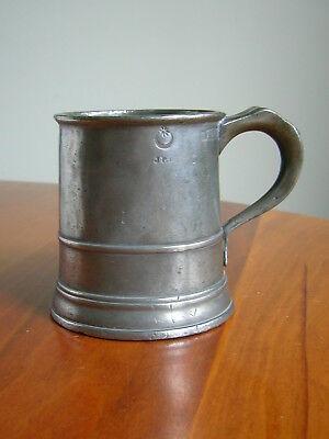 A Small Antique Half Pint Pewter Tankard - Star And Crescent Mark.