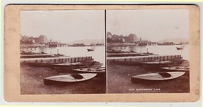 Stereoview-LAKE DISTRICT, Windermere and canoes and other boats by ALFRED SEAMAN
