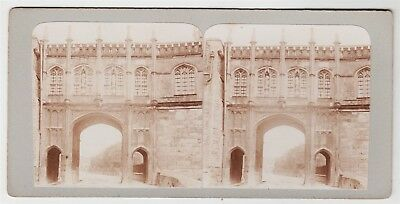 Stereoview-SOMERSET, Wells Cathedral and the Chain Gate archway, c1905