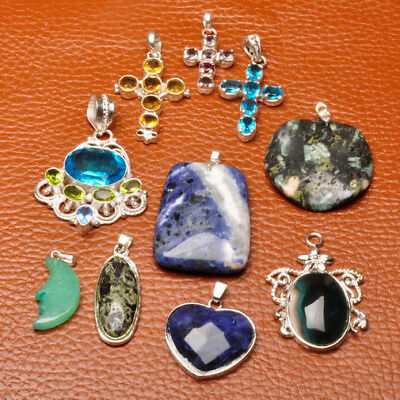 "7/8"" - 2"" 925 Sterling Silver Plated 10X Wholesale Multi Gemstone Pendants"