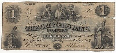 1857 $1 The Citizens Bank of Gosport Indiana Obsolete Remander Note Currency