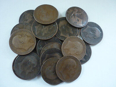 GT BRITAIN - 25 x COLLECTABLE CIRCULATED BRONZE EDWARD VII (1902-1910) PENNIES