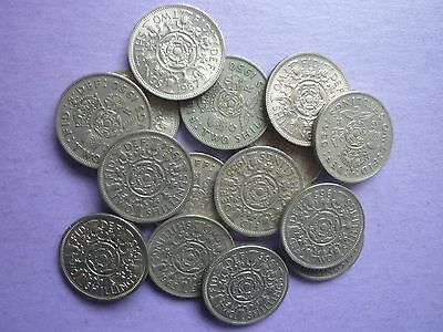 15 x CIRCULATED GEORGE VI & ELIZABETH II COLLECTABLE FLORINS OR 2 SHILLING COINS