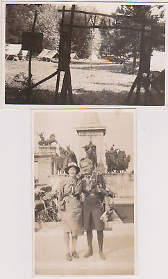 Two Postcards 1939 Girl Guide Pax-Ting International Camp Hungary (c)