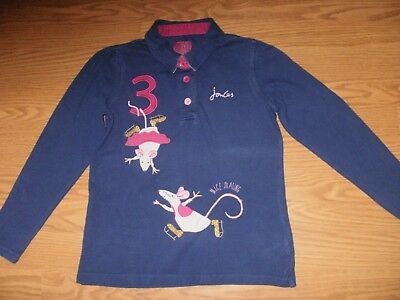 Joules Girls Blue Long Sleeeve Polo Top Skating Mouse Mice Age 9 - 10 Years