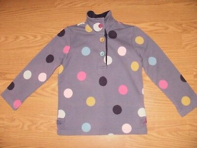 Joules Girls Purple Spot Long Sleeve Polo Top Age 5 Years