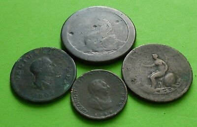 1797 Cartwheel One Penny + 1799 Farthing and 1799, 1807 Half penny coins - T10